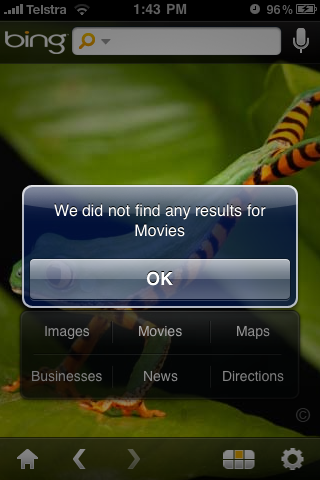 Bing iPhone App Movies Search