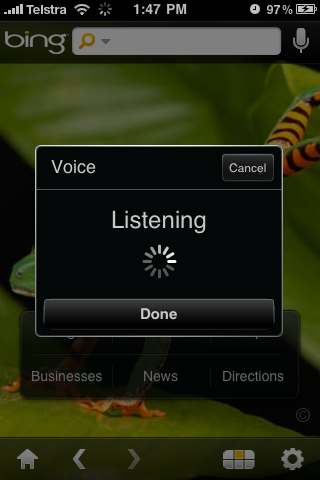 Bing iPhone App Voice Search Listening