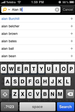 Bing iPhone App search as you type results